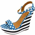 LADIES DOLCIS BLUE BLACK POLKA-DOT WEDGE PLATFORM STRAPPY SANDAL SHOES SIZES 3-8
