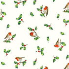 RED ROBINS CREAM  HOLLY-  RETRO CHRISTMAS by MAKOWER 100% COTTON FABRIC VINTAGE