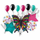 11pc Radiant Prismatic Butterfly Holographic Happy Birthday Balloon Bouquet Bug