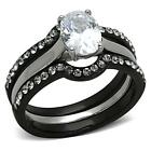 Black Stainless Steel Oval cz 3 PC Wedding Engagement Women's Ring Set 5-10