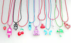 Childrens Painted Metal Pendant and Necklace Owl Heart Cherry Strawberry Handbag