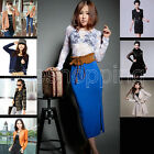 HOT!! Womens Sexy Flower Lace Sheer Tops Stretch Long Sleeve Blouse Tee T shirt