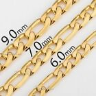 6/7/9mm Mens Boys Chain Figaro Yellow Gold Tone Stainless Steel Necklace 18-36''