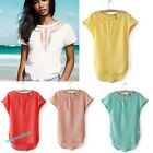 New fashion Women Chiffon T-shirt Hollow Out  Casual Top Blouse Candy solid