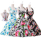 Retro 50s 60s Housewife Sexy Swing Jive Pinup Floral/Polka Dot Rockabilly Dress