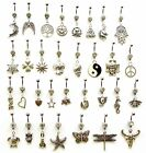WICCAN PAGAN BELLY NAVEL PIERCING BAR CHARM DANGLE CHOOSE YOUR SYLE