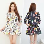 Vintage Women 3/4 Sleeve Cat Printed Top Blouse Shirt Pleated Skater Skirt Suit