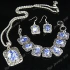 Special Offer Natural Purple Stone Necklace Earring Bracelet Vintage Jewelry Set