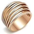 Women\'s Pink Rose gold GP Stainless Steel Wide Band Dome Emo Ring  sz 5-10