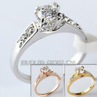 Women's Engagement Wedding Ring 18KGP CZ Rhinestone Crystal Size 5.5-11.5