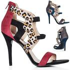 NEW WOMENS STILETTO HEEL ZIP PEEP TOE PARTY SANDAL SHOES SIZE 3 - 8