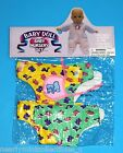 """BABY DOLLS CLOTHES 12"""" DOLLS ~ VINYL DIAPER & BIB SETS in YELLOW/GRN or PINK/GRN"""