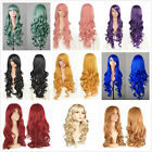 8 Colors Fashion Women Long WAVE Curly Hair Halloween Costume Costume Wigs +Caps