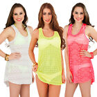 78438 Womens New Summer Ladies Beach Bikini Cover Up Crochet Long Vest Top S M L