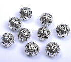 10Pcs Round Heart Metal Carved Hollow Tibetan Silver Spacer Beads For Jewellry