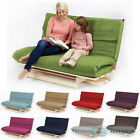 Double 2 / 3 Seater Textured Fabric Wood Futon Base & Foam Mattress Sofa Bed