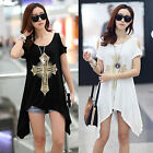 Summer Fashion Women Short Sleeve Off-shoulder Cross Printed Casual Tops Blouses