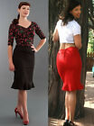 PENCIL FRILL SKIRT - Red Black 1950s Wiggle Vintage Retro Pin-Up style UK6-UK14