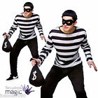 MENS BANK ROBBER CAT BURGLAR CONVICT THIEF FANCY DRESS COSTUME AND MASK SWAG BAG