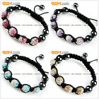 Gradient Pave CZ Swarovski Crystal Disco Ball Hand-woven Bracelet ,11 Colors
