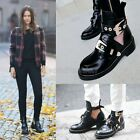 Womens Ladies Genuine Leather Punk Buckle Strap Low Heel Ankle Boots Shoes 822