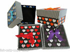 HEART & STRIPED LID DESIGN JEWELLERY WATCH BRACELET BOW GIFT BOXES PADDED INSERT