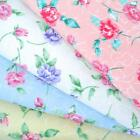 FELICITY - FLORAL GINGHAM POLY COTTON FABRIC pink blue white yellow