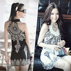 Retro Ladies Womens Sleeveless Slim Crochet Party Club Cocktail Sexy Mini Dress