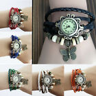 Women Retro Leather Bracelet Stylish Butterfly Decoration Quartz Wrist Watch