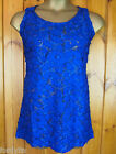 EVANS LOVEDROBE ROYAL BLUE PATCH & LACE SLEEVELESS TOP SIZES 16 - 32