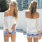 Summer Women Strapless Long Sleeve Floral Lace Casual Sexy Cute Top Shirt Blouse