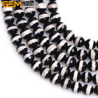 Round Faceted White & Black Strip Fire Agate Beads Jewelry making Strand 15''