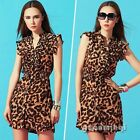Sexy Women Clothing Leopard Waisted Party Casual Mini Shirt Dress Vestidos Gowns