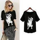 Women Hot Summer Casual Cotton Animal Print Dog Outfit In Top T-Shirt Tee Blouse