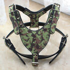 Camouflage Leather Spiked Studded Dog Harness Large Dog Terrier Pitbull Mastiff