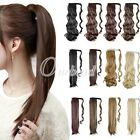 Women's Clip In Ponytail Hair Extension Wrap Band  Hairpiece Long Wavy Straight
