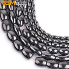 "Natural Stone Magnetic Black Hematite Gem Beads For Jewelry Making 15"" Olivary"
