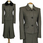 ALEX AND CO BROWN WOOL SKIRT SUIT FUR COLLAR 1940S STYLE WOMEN LADIES WOMAN SIZE