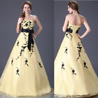 1 Elegant New Yellow Leaf Wedding dress Bridal Gown custom size 6-8-10-12-14-16