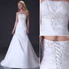 Stock New White/Beige Wedding Dress Bridal Bridesmaid size:6 8 10 12 14 16 18 20