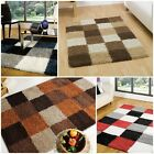 Modern Quality Contemporary Checked Shaggy Rug 4 Colours 4 Different Sizes