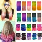 Rainbow Colorful Cosplay Curly Straight Wig Hair Extensions Hairpiece  5 Clips