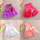 Baby Girl Kids Princess A-line Tulle Skirt One-piece Lace Bow Formal Party Dress