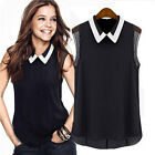 Women Summer Loose Casual Chiffon Sleeveless Vest Shirt Tops Blouse Black White