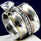 2.84 CT Clear Solitaire CZ Engagement Stainless Steel Wedding Rings Sets