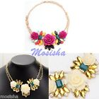 1p Rose Crystal Flowers Cluster Faux Pearl Colorful Chunky Bib Pendant Necklace