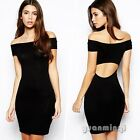 Sexy Women Off Shoulder Evening Cocktail Party Club Bodycon Sheer Runway Dress