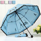 Womens Black Lace Umbrella Sun Umbrella Folding Apollo Mushroom Umbrella T171