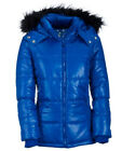 NEW Blue Aeropostale Aero 87 Womens Faux Fur Hooded Puffer Jacket Coat Sz Large