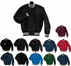 MEN'S HEAVYWEIGHT, QUILTED LINED, SNAP FRONT, BASEBALL JACKET, S-XL 2X 3X 4X 5X